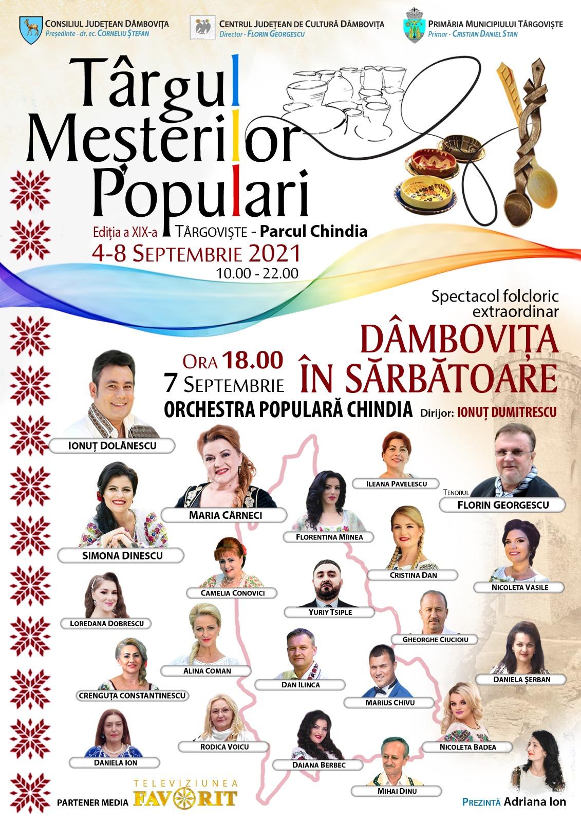 Consiliul Județean Dâmbovița în parteneriat cu Primăria Municipiului Târgoviște, organizează manifestări artistice și culturale, cu ocazia Zilelor Cetății Târgoviște