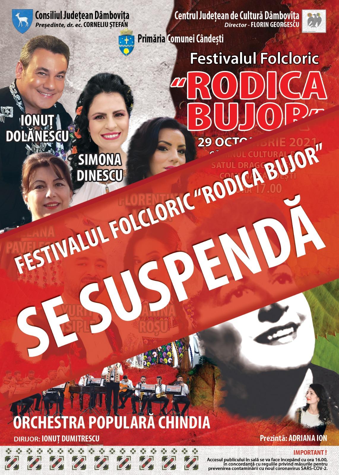 """Festivalul """"Rodica Bujor"""", suspendat din cauza condițiilor epidemiologice"""